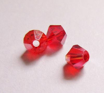 100 perles toupies cristal de swarovski colori rouge 4mm