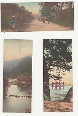 Unusual Antique Hand Tinted Photo Papers Japan 1930s or 40s Set of 3