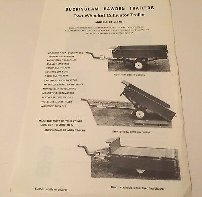 Buckingham Bawden Two Wheeled Cultivator Trailer Original 1970s Sales Brochure