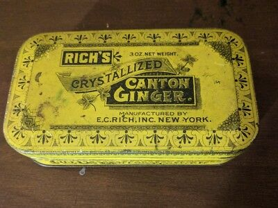 Vintage Rich's Crystallized Canton Ginger Tin 3 oz. Net Weight (Empty)