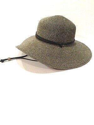 b0ef5f67d46 Sloggers Womens Medium Wide Brim Braided Sun Hat Black And Tan With Wind  Lanyard