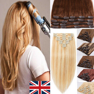 UK STOCK 100% Real Clip In Remy Human Hair Extensions Full Head 12-24inch BROWN