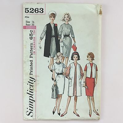 Vtg 1960s Simplicity 5263 Pattern Misses Dress & Sleeveless Coat Sz 16 Bust 36