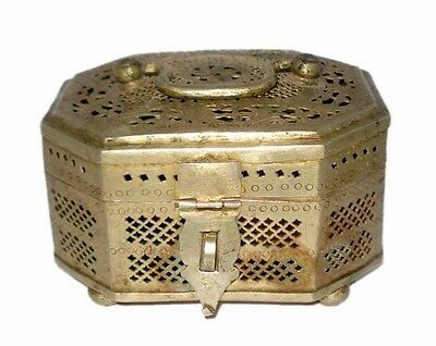Antique Brass Old Rare Hand Crafted Jali Cutting Islamic Pan Betel Box.G7-437 US