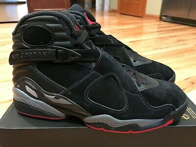 wholesale dealer 2733d cfd3f Nike Air Jordan 8 Retro Black Gym Red Wolf Grey 305381 022 Men s Size 10.5