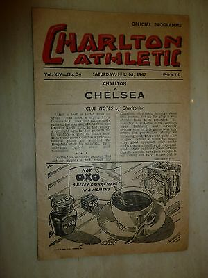 1946/47 Football Programme - CHARLTON ATHLETIC v CHELSEA - 1st February