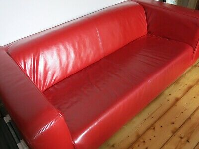 Ikea Klippan Sofa Real Leather Red Excellent Condition