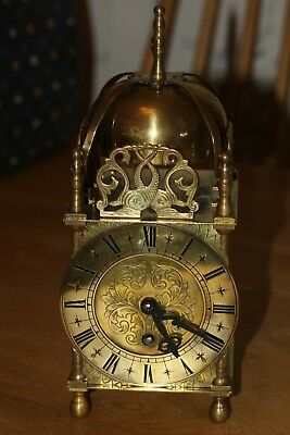 Large Smiths 'Empire' Brass lantern type clock. Key wind               EB33