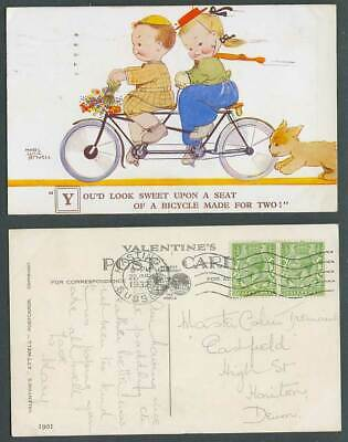 MABEL LUCIE ATTWELL 1932 Old Postcard TANDEM BICYCLE Made For 2, Look Sweet 1901