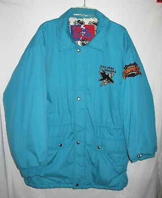 NHL Vintage San Jose Clarence Campbell Jacket Zipper-Snap Front, Size Large