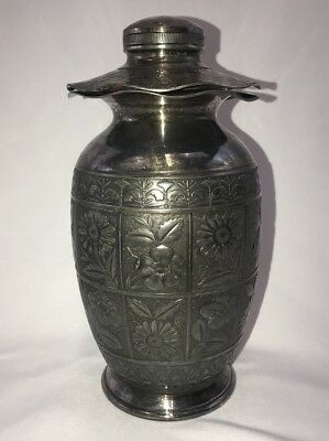 Antique Hartford Silverplate Co. Asian Influenced Lantern Form Urn w Floral 1926