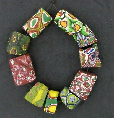 African trade beads Millefiori Venetian mosaic glass beads   #M3