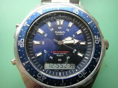 Casio quartz chronograph alarm watch, steel bracelet, deployment clasp, used
