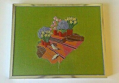 """Vintage Embroidery Framed Wildflowers and Birds On Steps Picture 21"""" X 17"""""""