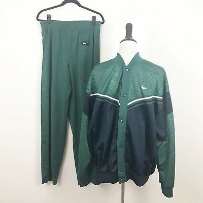 Vintage Nike Red Tag 2 Piece Track Suit Green Blue Size Large Snap Sides