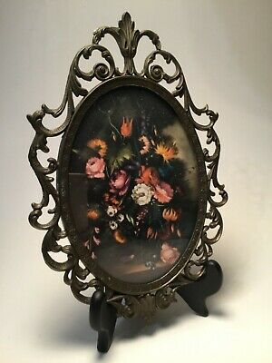 Vintage Oval Ornate Metal Frame with Convex Glass Floral Print Made in Italy