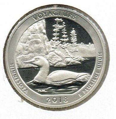 2018-S San Francisco Proof Voyageurs National Park (MN) 25 Cent Coin!