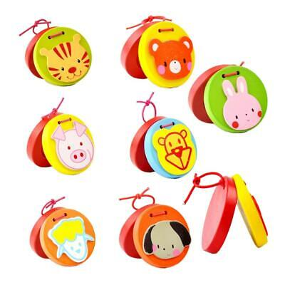 Funny Cartoon Animal Design Wooden Castanet Clapper Musical Instrument Toy Gift