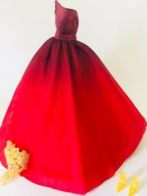 NEW Barbie Christmas Holiday 2014 Doll Red Gold Gown ~ Model Muse Dress Clothing