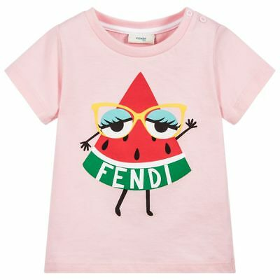 bbb6cba48 NWT NEW FENDI baby girls pink watermelon logo T-shirt 18m - $65.00 |  PicClick