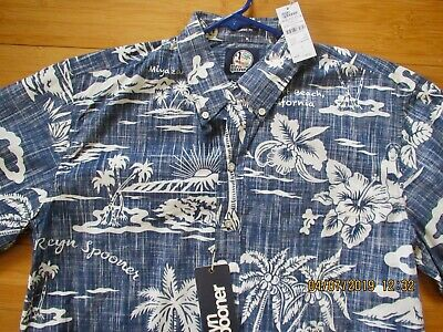 07f6c3a7 REYN SPOONER KLOTH-MY Private Isle-L-Cotton-Nwt-L-Ink-Button Front ...