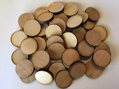 "QTY 100- 1 1/4"" Unfinished Wood Circles no Hole"