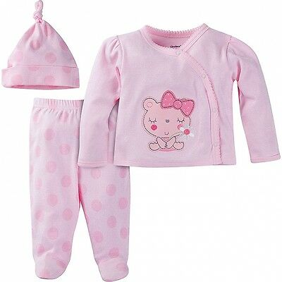 Gerber Girls 3 Piece Set Take-Me-Home Outfit NEW Pink Kitty Various Sizes