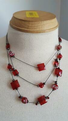 "17"" Flapper Inspired Victorian Replica 3 Strand Ruby Red Rose Necklace, Bronze"