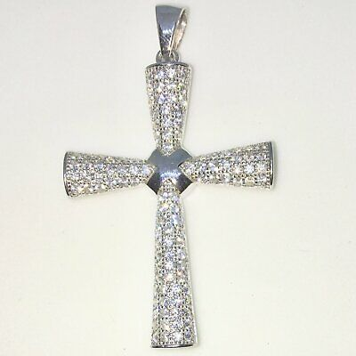 New White Gold on 925 Sterling Silver Pendant Byzantine Cross with round white