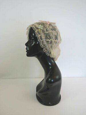 Pink Silk and Ecru Lace Boudoir Cap With Ribbon Flower Trim -1920s