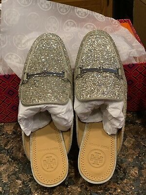 6bb5bbfb8 Tory Burch Amelia Backless Loafer Glitter Silver Size 5 NEW