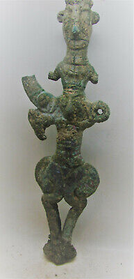 Circa 1200-800Bce Ancient Luristan Bronze Idol Master Of Animals Two Faces Rare