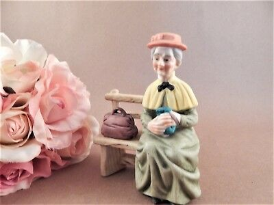 Figurine Old Woman on Bench LEFTON VTG 1980s Hand Painted Porcelain Bisque