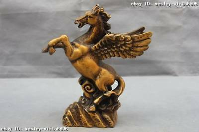 9 Chinese  Copper Bronze Feng Shui Dancing wings Fly horse Steed Pegasus Statue
