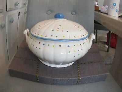 """Vintage TIFFANY & COMPANY Hand Painted FRANCE """"Carnivale"""" Lidded Soup Tureen"""