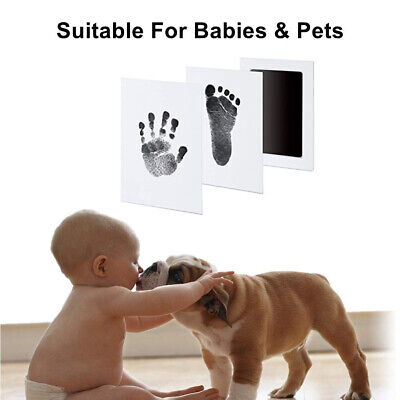 Baby Safe Inkless Touch Footprint Handprint Ink Pad Mess Commemorate Kit Black