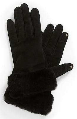 New UGG Australia 'Kotah Shorty' Tech Gloves suede LEATHER shearling  Black  M