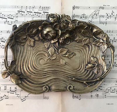 Large Antique French Art Nouveau Bronze Tray Roses Flowers Leaves c1900
