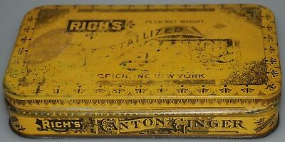 Rich's Canton Ginger Tin Container 1/2 LB. Weight Delightful Sweet Meat LOOK!@@!