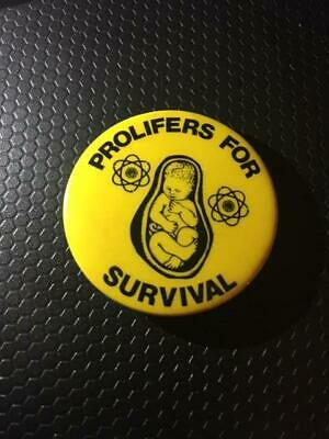 Vtg Prolifers for Survival Fetus Womb Atomic Energy Pin Button Protest Movement