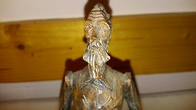 Vintage 8 inches QUIXOTE Hand Carved Wood Statue Figurine OURO Artisans Spain