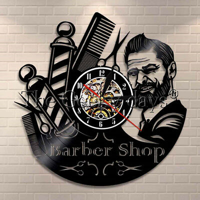 Barber Shop Vinyl Record Clock Beauty Salon Hairstyle Wall Clock Hairdress Gift