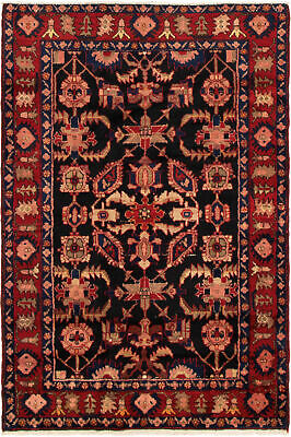 """Hand-knotted Persian Carpet 4'5"""" x 6'11"""" Nahavand Traditional Wool Rug"""