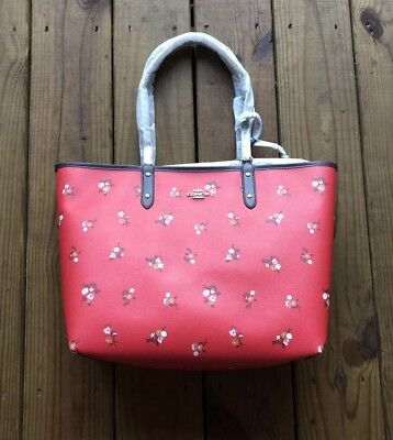 99758a45e NWT $350 Coach Signature F36609 Sienna Rose Floral Print Reversible City  Tote