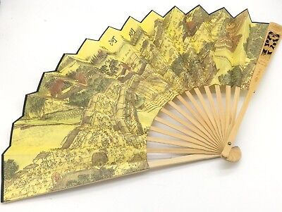 Japanese cloth folding fan wood craved lotus with landscape / kanji