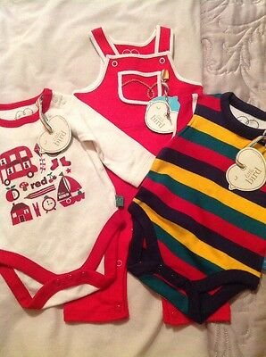 Little Bird By Jools Oliver New Baby / 1 Mth Boys Dungarees & 2 Bodysuits Bundle