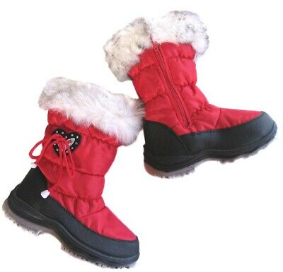 New Teenage Girls Red Winter Snow Boots Size 34 35 36 37