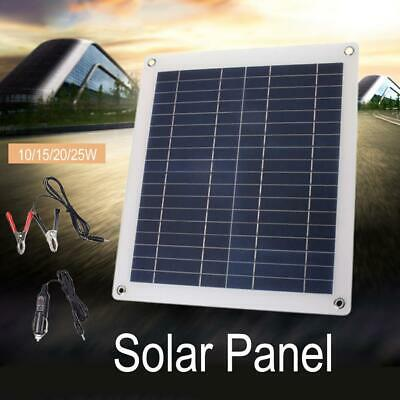 Solar Panel Battery Charger Dual USB Alligator Clip Wire DC Male line 25W 12/18V