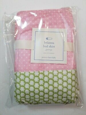 Pottery Barn Baby Brianna Crib Bed Skirt Pink Green White Dots Floral