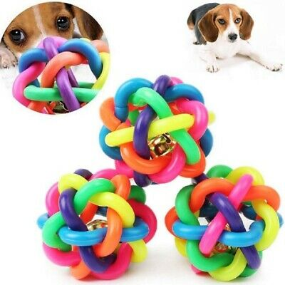 Pet Dog Colorful Non-toxic Chew Toy w/Bell Puppy Funny Interactive Exercise Ball